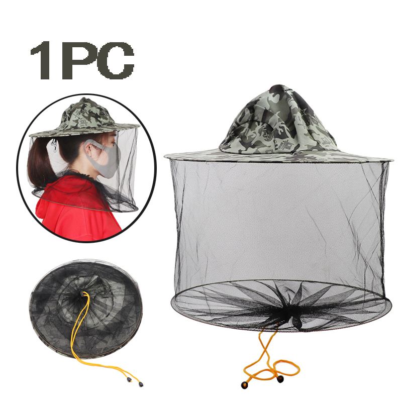 Camouflage Beekeeping Hat Mosquito Bee Insect Net Veil Hat Face Head Neck Wrap Protector Five-pointed StarBeekeeping Tools