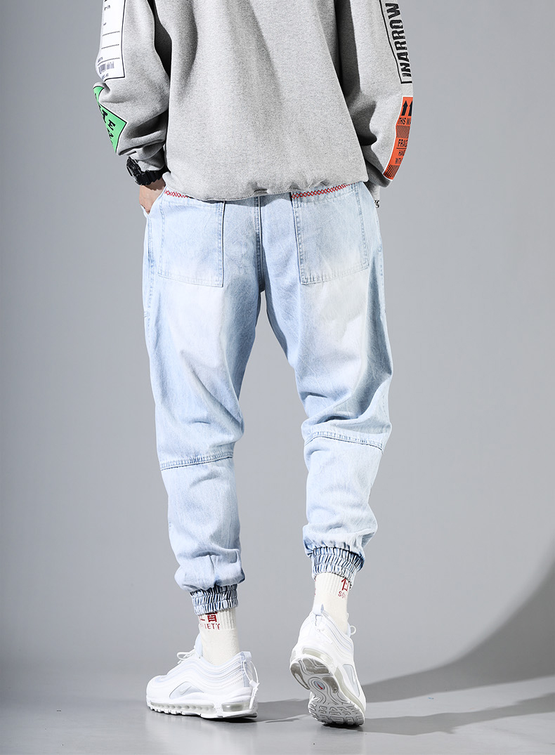 Hip Hop Streetwear Harem Jeans Pants Men Loose Joggers Denim Casual Sweatpants Korea Ankle length Trousers 19