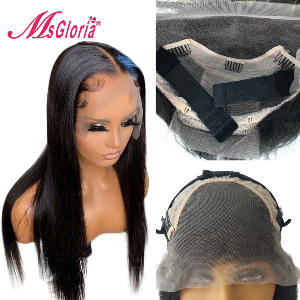180% Transparent Lace Wig For Women Straight Brazilian Remy Hair 13x6 Lace Front Human Hair Wigs With Elastic Band Bleached Knot