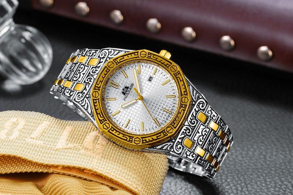 H80560d6d957746ae859e9596aa0848cad Men Carved Antique Vintage Luminous Rose Gold Yellow Gold Silver 2 Tones Fashion Blue Classic Quartz luxury watch