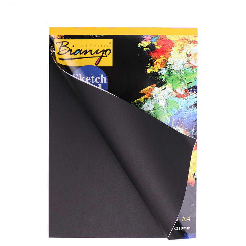 A4/A5 Black Sketch Book Diary For Drawing Painting Graffiti Soft Cover Black Paper Sketch Book Notebook Office School Supplies Gift