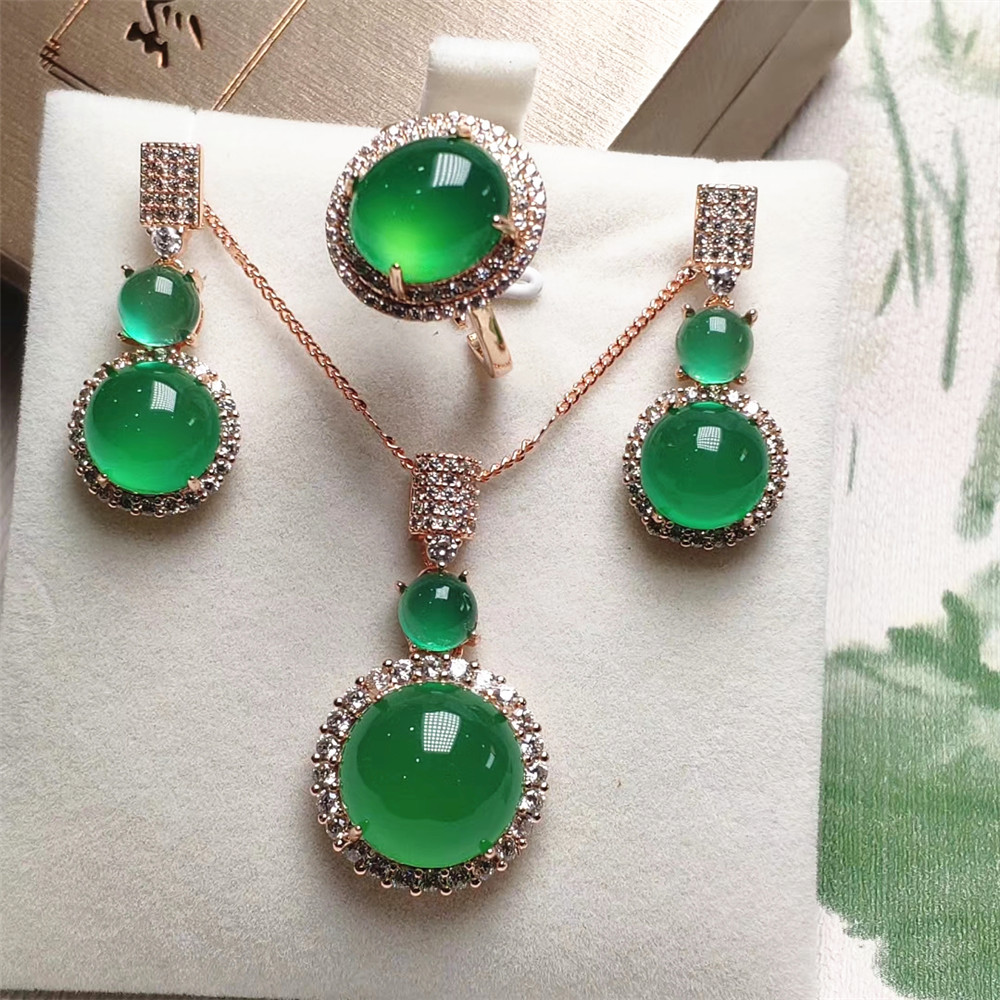 Jadery 925 Sterling Silver Jewelry Sets Natural Green Jade Rose Gold Necklace/Earrings/Ring Women Fine Jewelry Christmas Gift