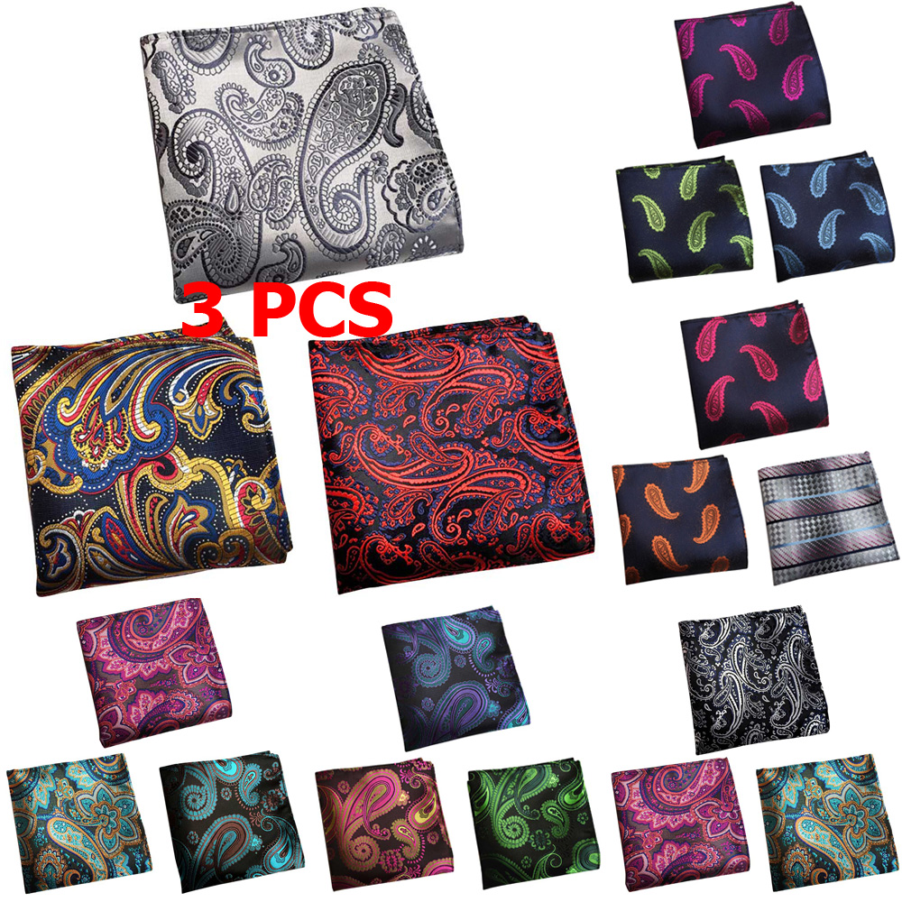 3 PCS Men Fashion Paisley Floral Pocket Square Handkerchief Wedding Party Hanky