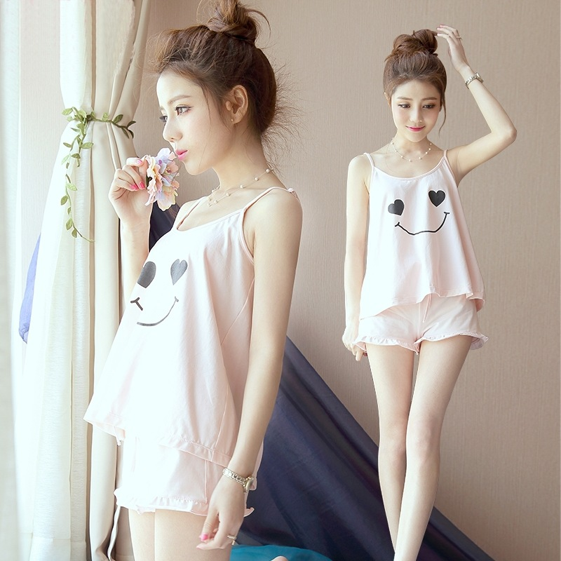 2018 Summer Hot Selling Pajamas Sexy Camisole Smiley Plus-sized Homewear Set M-XXL Send Eye Patch