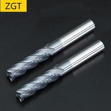 """ZGT Endmills סגסוגת קרביד טונגסטן פלדת כרסום קאטר סוף מיל HRC50 4 חליל 4 מ""""מ 6 מ""""מ 8mm 10mm 12mm מתכת חותך כרסום כלים"""