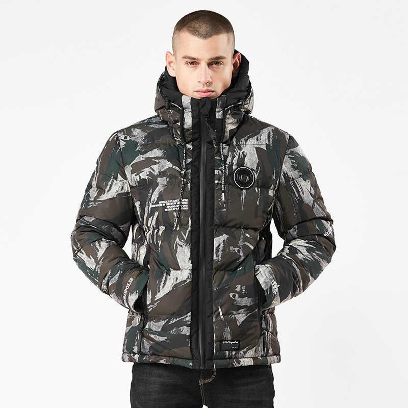 Gaaj 위장 파카 남성 다운 재킷 가을, 겨울 따뜻한 재킷 남성 후드 두꺼운 의류 남성 캐주얼 카모 코트
