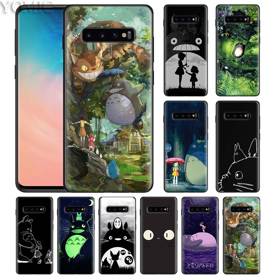 Studio Ghibli Totoro – Coque de téléphone noir en Silicone, pour Samsung Galaxy S10 5G S10e S9 S8 S7 Note 10 Plus 9 8