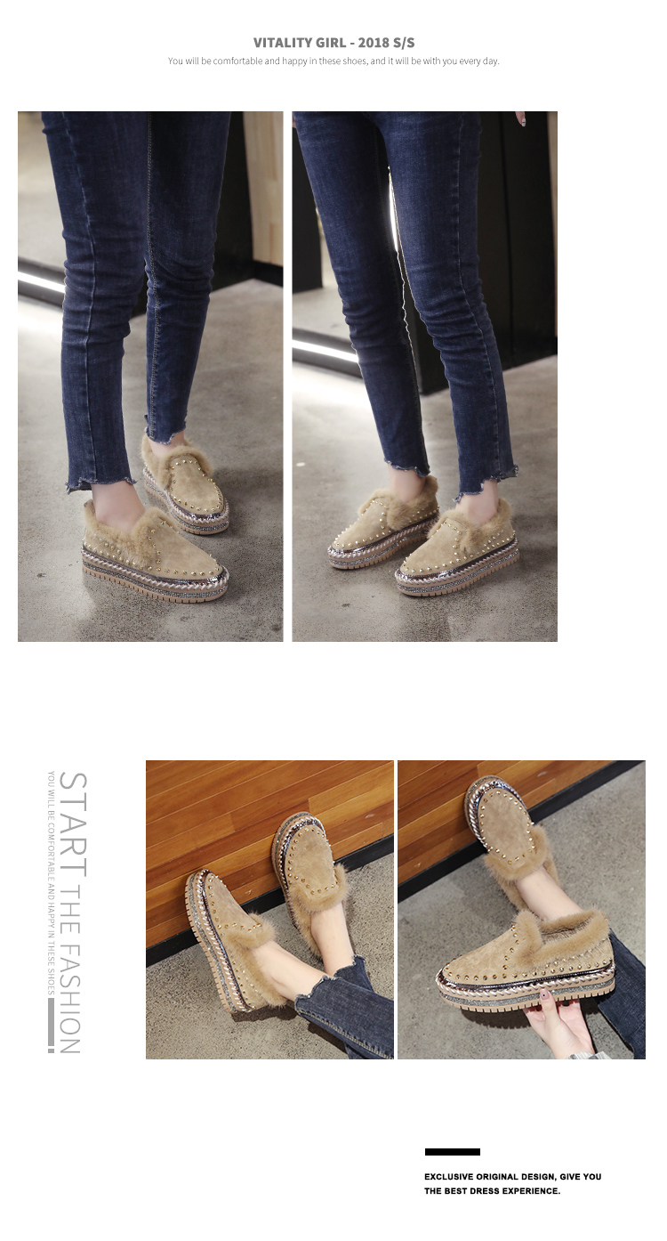 2019 Winter New Women Fur Loafers Comfortable Casual Platform Sneakers 69