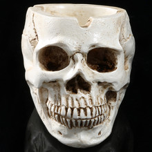 1PC Skeleton Head Style Ashtray Resin Simulation Head Model Halloween Funny ashtray Drop Shipping Halloween decoration L*5