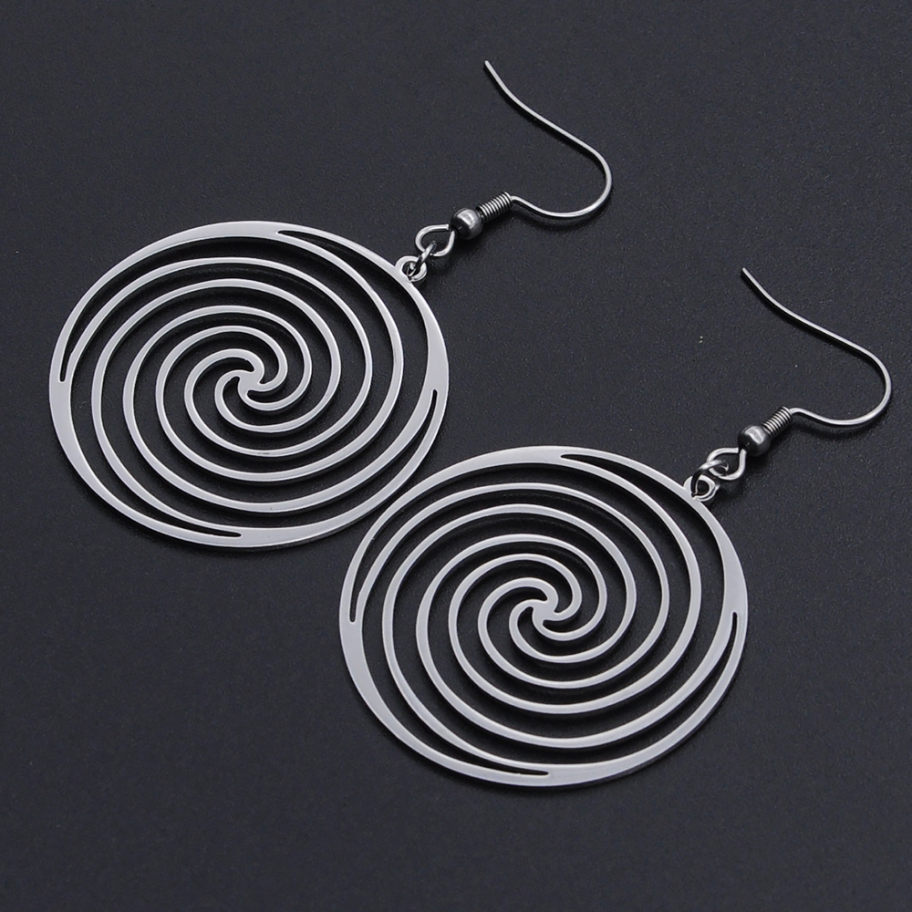 100% Stainless Steel Fashion Geometric Spiral Round Earring for Women Wholesale Unique Statement Jewelry Earrings