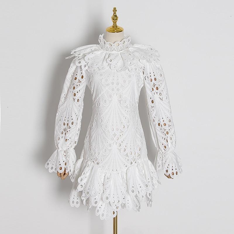 CHICEVER elegante ahueca hacia fuera el vestido para las mujeres cuello alto manga Flare vestidos de cintura alta femenino 2020 primavera nueva ropa de moda - 3