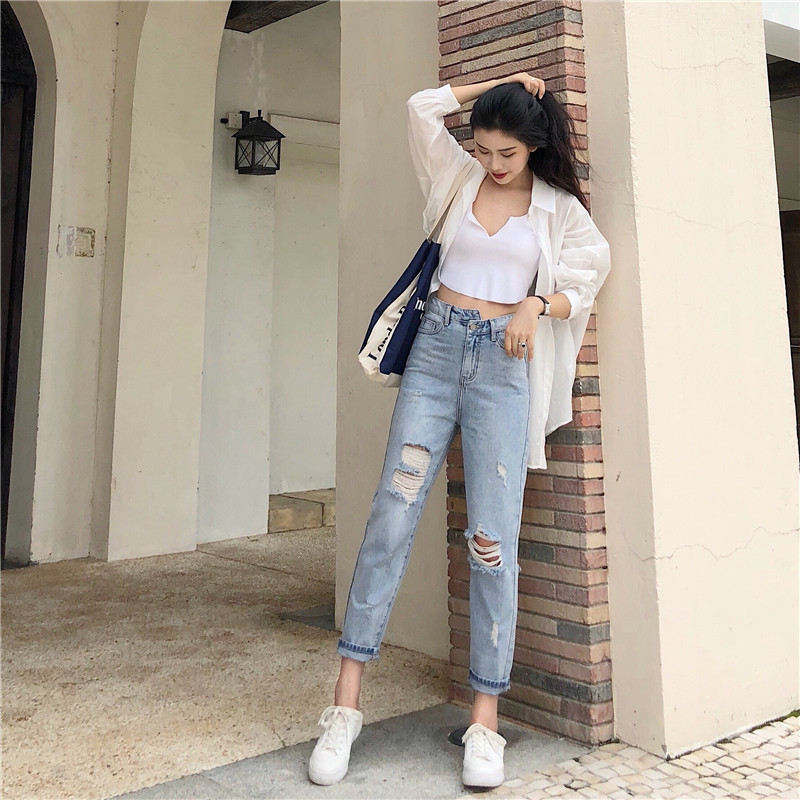 With Holes Jeans WOMEN'S Ninth Pants 2018 Autumn New Style WOMEN'S Dress Korean-style Versatile High-waisted Slimming Students S