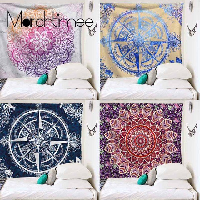 Indian Mandala Polyester Rectangle Tapestry Wall Hanging Art Carpet Bohemian Sleeping Pad Throw Yoga Mat Home Bedroom Decoration