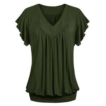 Plus Size Fashion Women Ladies Solid Pleated V Neck Tops Short Sleeve Shirts Loose Blouses Tunic Tops Summer Blouse Female Blusa