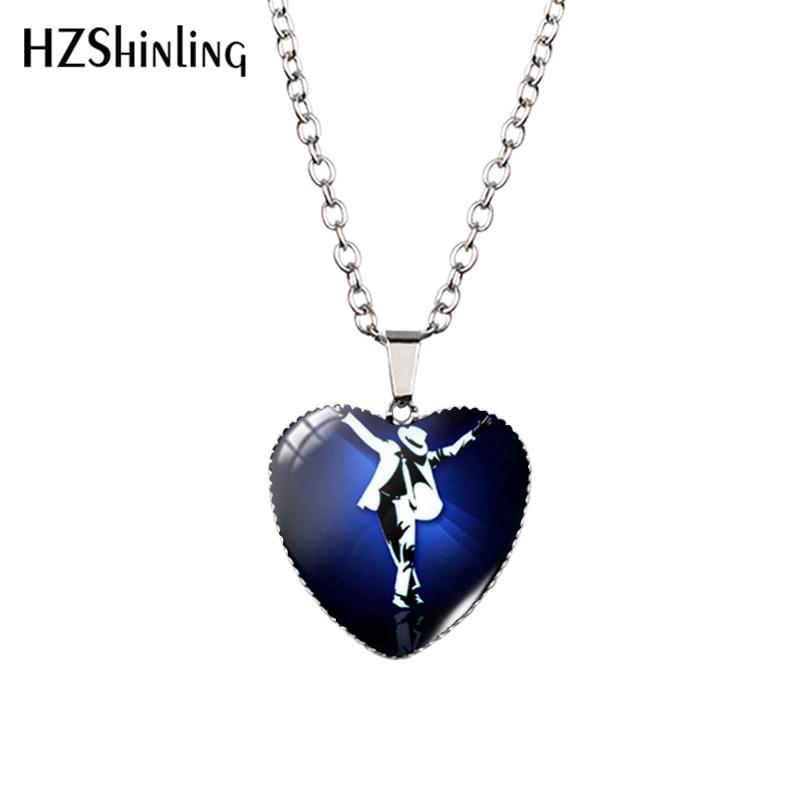 2016 novo michael jackson coração colar moonwalk pingente clássico michael jackson moda coração colar hz3