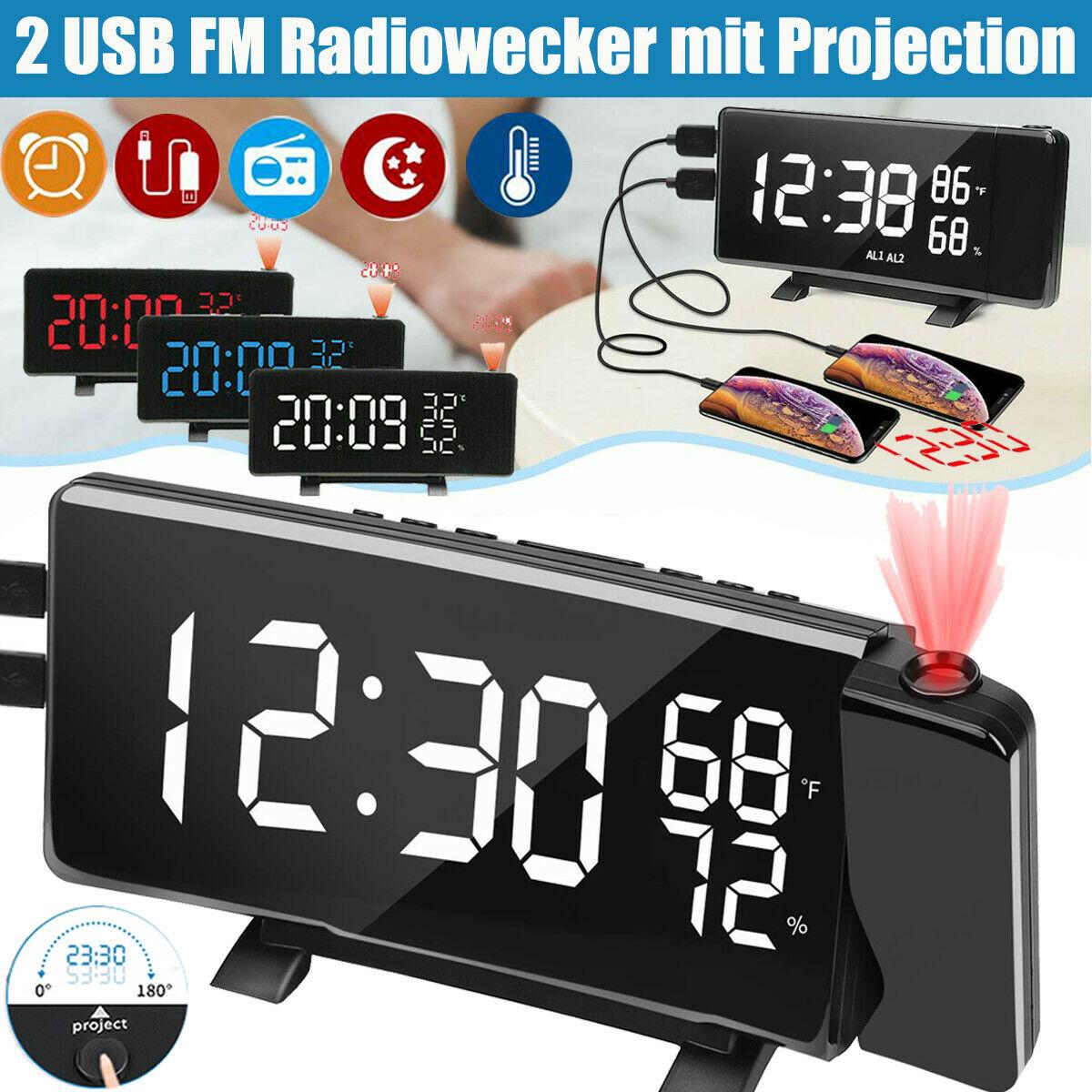 2Xusb Digitale Radio Klok Met Projectie Klok Sleeper Wekker Led Screen Radio Weersverwachting Klok Thermo-Hygrometer
