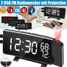 Reloj Digital de Radio con pantalla Led, dispositivo con proyección de 2x USB, Alarma para dormir, Radio, pronóstico del tiempo, termo higrómetro