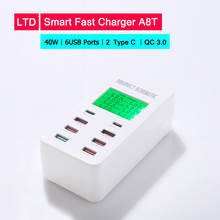 купить Universal 40W USB Quick Charger 5V 8A for iPhone Fast charging 6 USB Ports with 2 Type C Port for Samsung For Oneplus For Huawei дешево