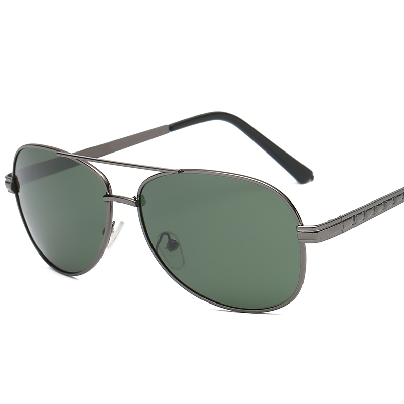 2018 Fashion Men's Polarized Sunglasses Brand Metal Eye Summer Fashion Sun Glasses Dark Green Lens