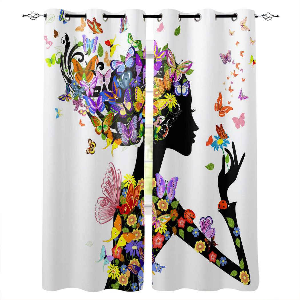 Colorful Butterfly Girl Child Bedroom kitchen Living room decoration items  window curtains for living room