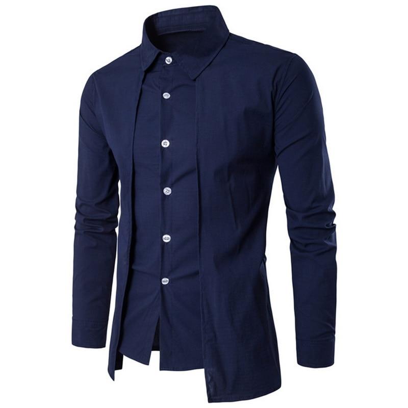 2019 Men's Shirt Slim Solid Fake Two Piece Business Dress Shirts Formal Evening Dress Men's Black Long-sleeved Shirt Top-blouse