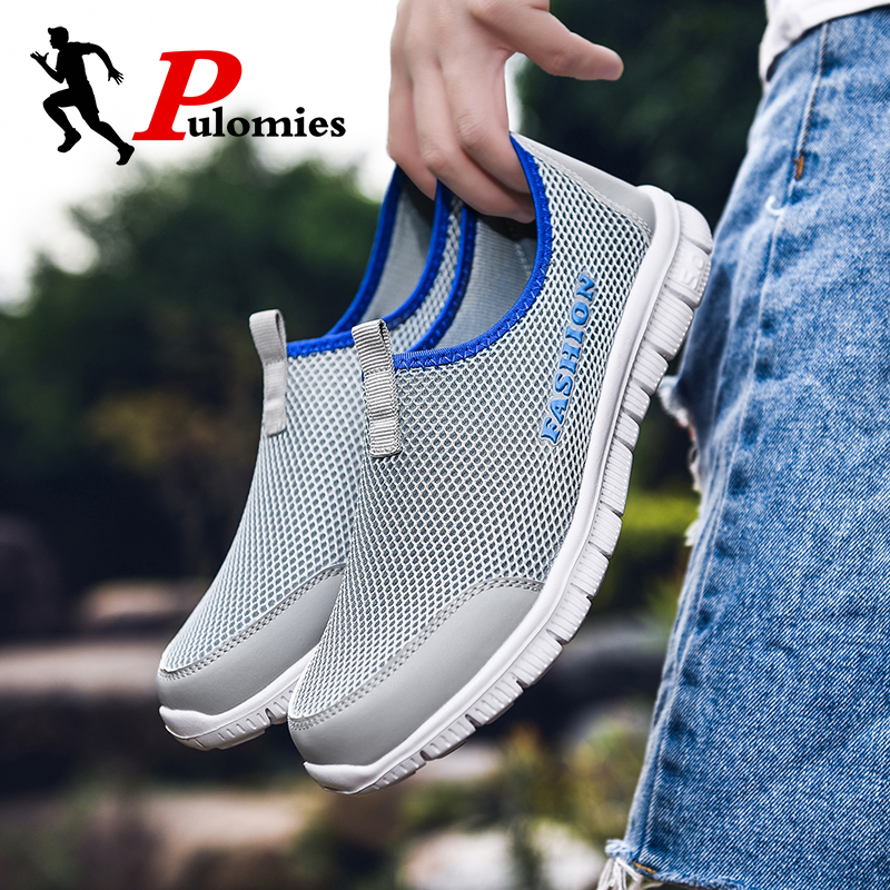 PULOMIES 2020 Summer Men Casual Shoes Men's Loafers Breathable Mesh Sneakers Men Quick Dry Shoes Couple Shoes Size 46