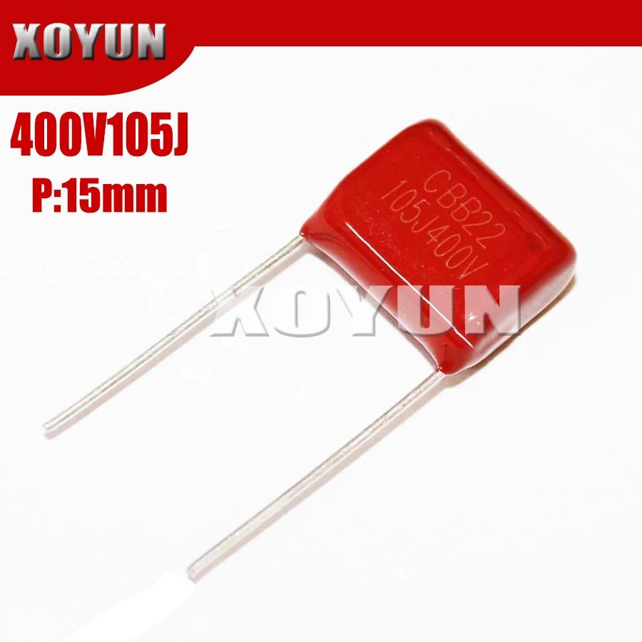 10PCS 400V105J 105J400V Pitch 15MM 400V 105J 1UF  CBB Polypropylene Film Capacitor