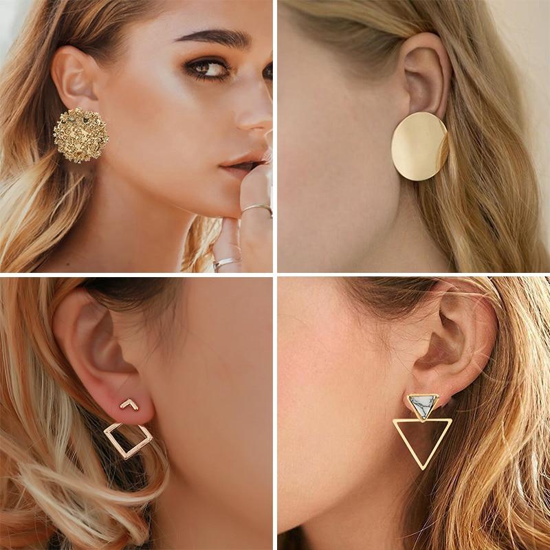 New Fashion Round Swing Korean Drop Earrings For Women Geometric Round Heart Gold Wedding Earring 2020 Earrings Jewelry