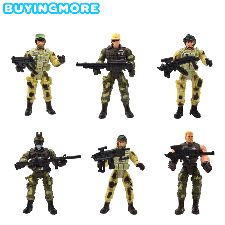6 Pcs/set Military Soldiers Model Kids Toys Camouflage Uniform Action Figure Soldier Plastic Model Toys For Boys Educational Toy