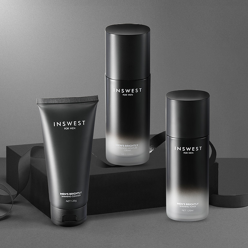 INSWEST 3Pcs Men Brightening Skin Care Set Cleanser & Toner & Lotion Moisturizing Anti Aging Smooth Daily Facial Care 120ml*3
