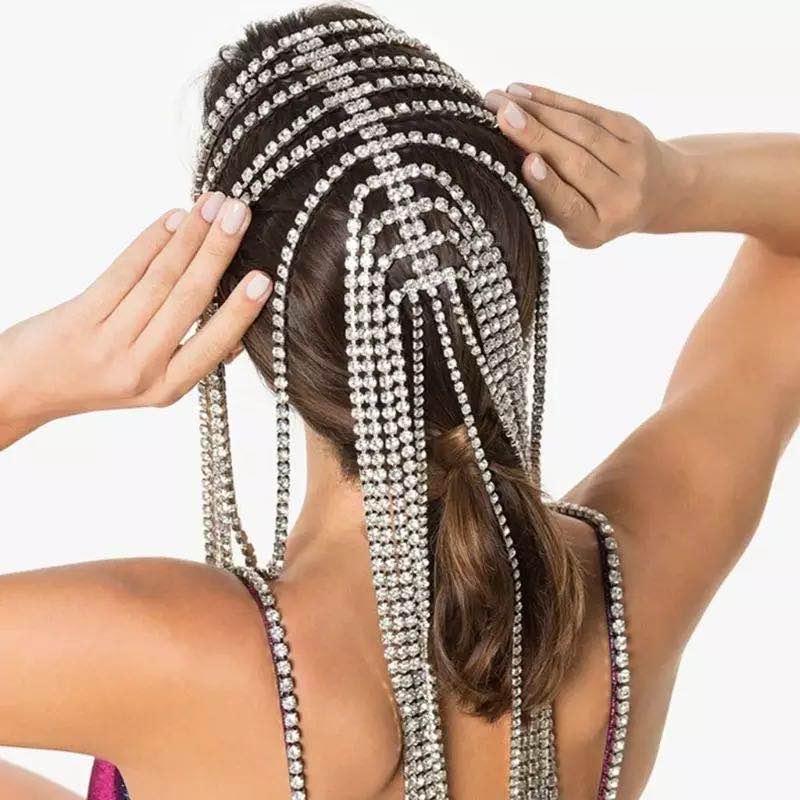 Moda venda quente nupcial bandana longa borla cabelo corrente acessórios para mulheres cristal multi strand cabelo corrente jóias presente