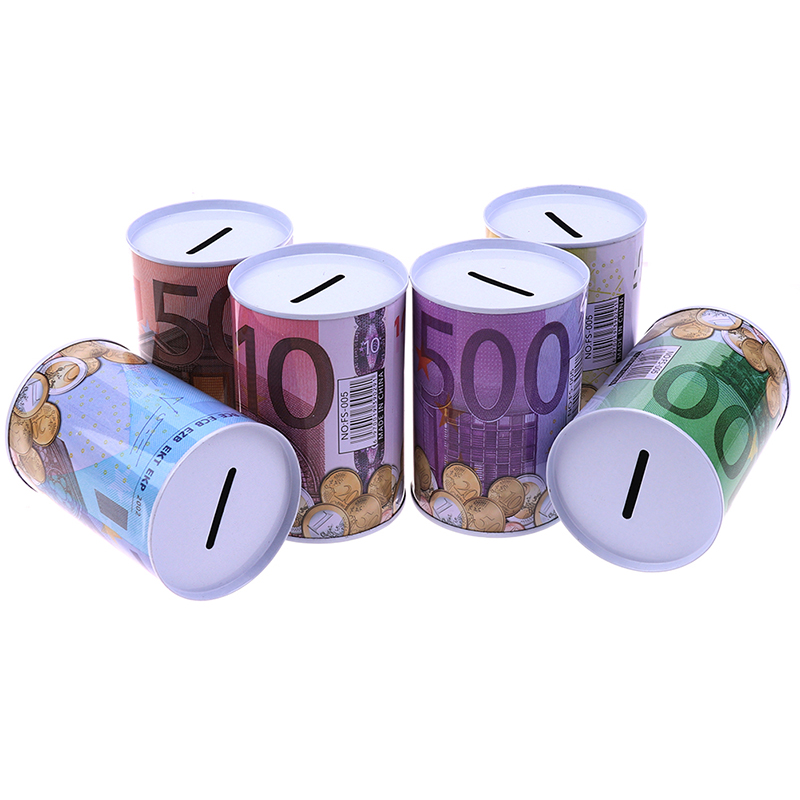 Euro Dollar Metal Cylinder Piggy Bank Saving Money Box Home Decoration
