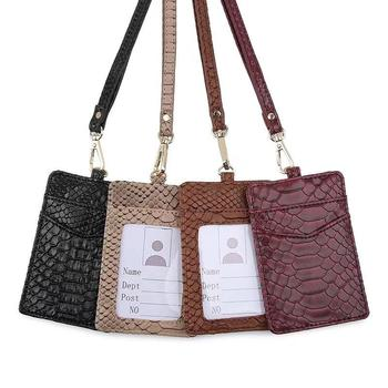 Maroon Snake Lady Neck Wallet Men Work Card Holder Python Pattern Wallet Key Bag Fashion Documents Cards Holder With Lanyard