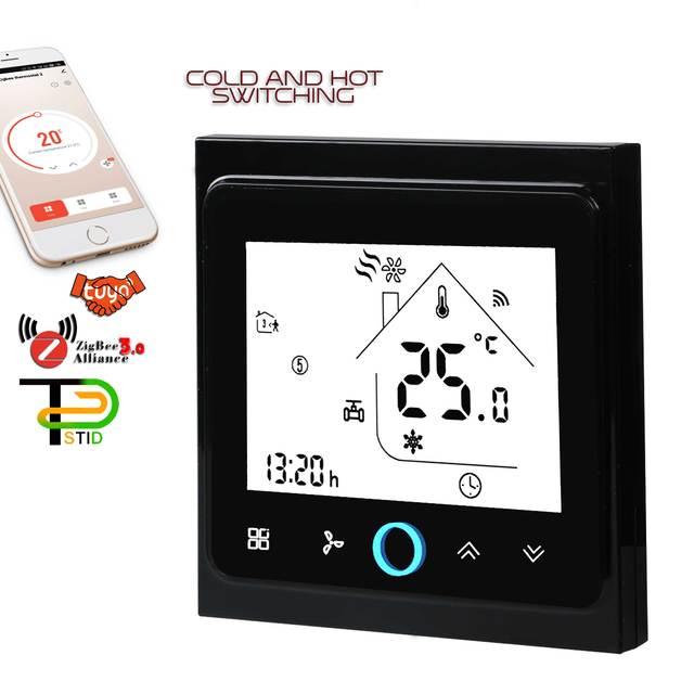 EU Cooling Heating Switch Ventilation Fan Thermostat ZIGBEE For WIFI Gateway HUB TUYA Family Intelligence System