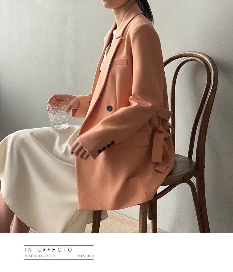 Office Lady Wear Blazers Suit Coat Elegant Belt Suit Jacket 2020 Chic Loose Solid Color Blazer Tops Women Concise Fashion Coats