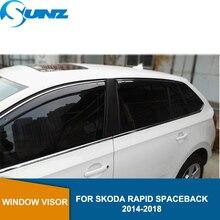 цена на Smoke Car Wind Deflector For Skoda RAPID SPACEBACK 2014 2015 2016 2017 2018 Car Window Deflector Visor Vent Rain Guard SUNZ