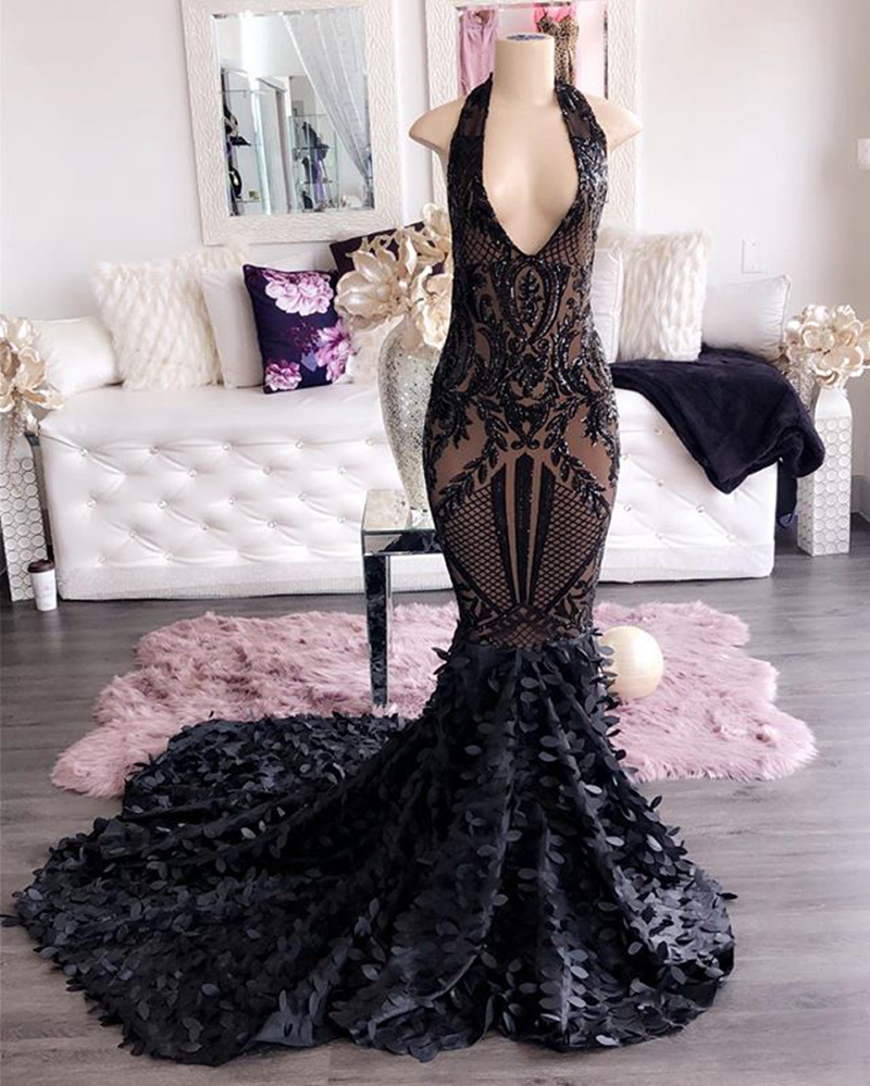 Long Prom Dresses 2020 Sexy V-neckline Sequin Flower Lace African Women Black Girl Gala Prom Gowns