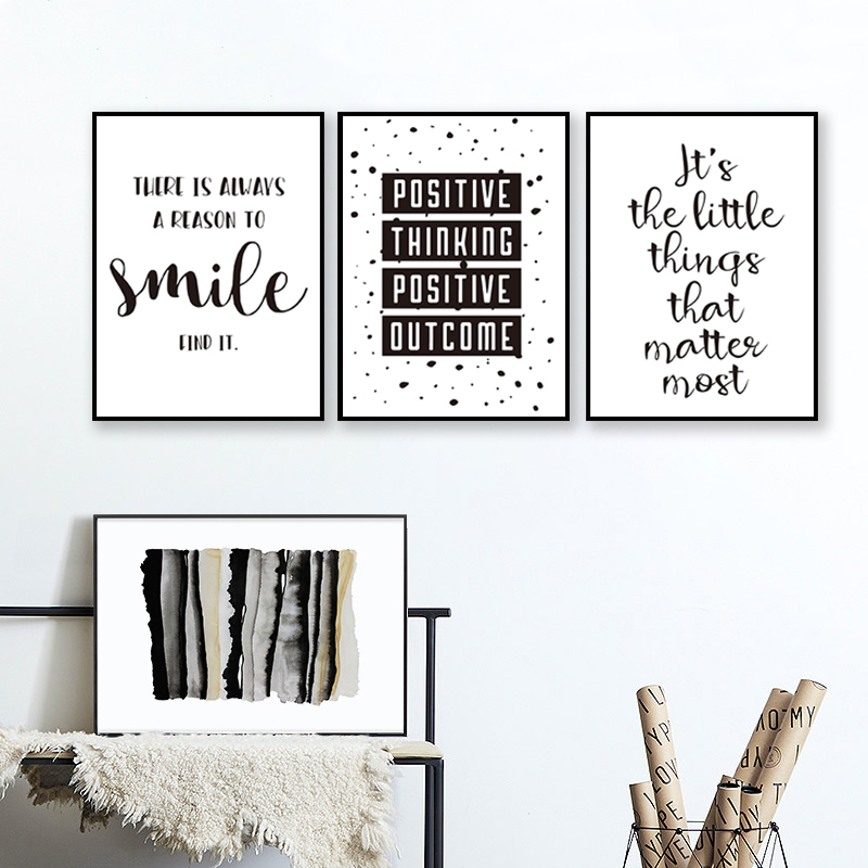 Black And White Inspirational Positive Smile Quote Canvas Painting Nursery Posters Prints Wall Art Pictures Kids Room Home Decor