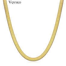 Width 4mm Stainless Steel Flat Necklace Gold  Snake Chain Women Men Gift Jewelry Various Length