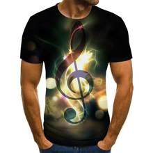 Camiseta con estampado 3D de instrumentos musicales y arte parágrafo verano unisex de estilo hip-hop camiseta informal de calle 2020