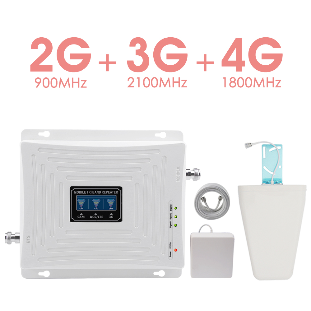 900+1800+2100 Mobile Signal Repeater GSM 900 DCS 1800 WCDMA 2100 Signal Booster 70dB Gain 2G 3G 4G Amplifier B1 B3 LCD Display