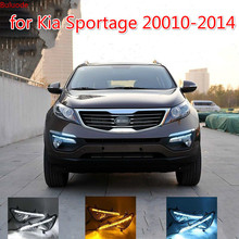 цена на Car LED DRL Daytime running light for Kia Sportage 2010 2011 2012 2013 2014 fog lamp cover daylight with Yellow Turning