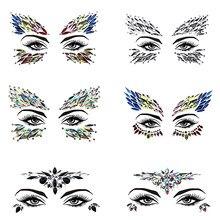 Adesivos de tatuagem 3d, brilho e cristal 3d, adesivo de tatuagem feminina, para rosto, gemas, para festival, de ginástica, adesivos para maquiagem