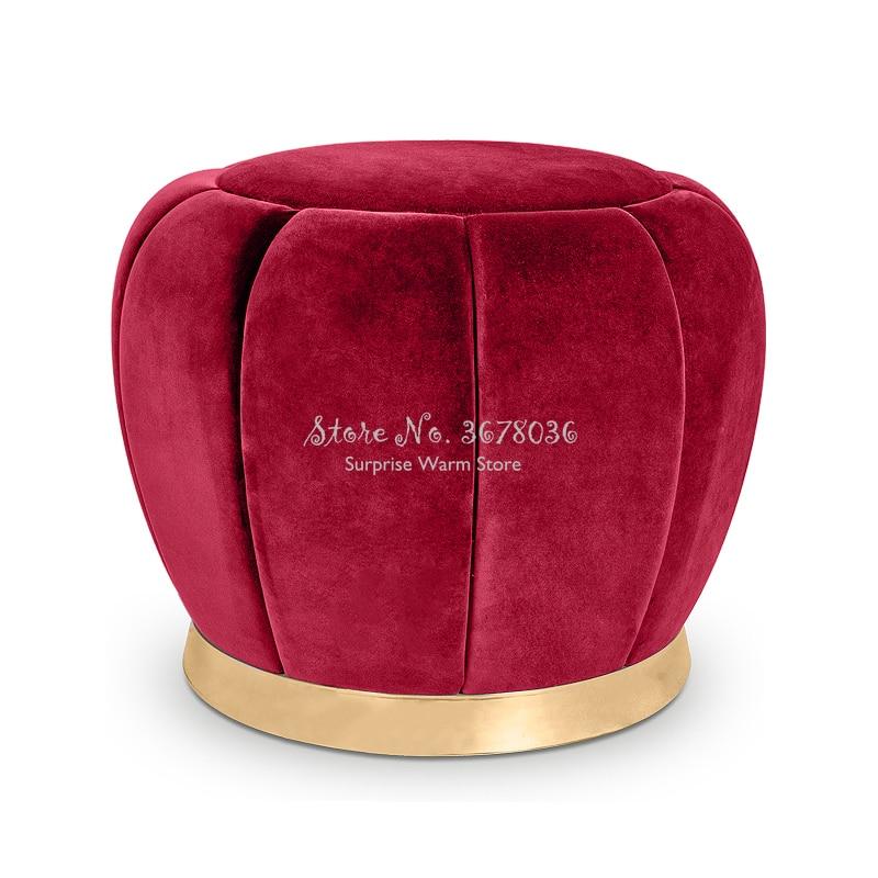 Fashion Velet Makeup Stool Round Pouf Sofa Ottoman Creativity Change Shoe Stools Home Small Bench Comfortable 38x40cm