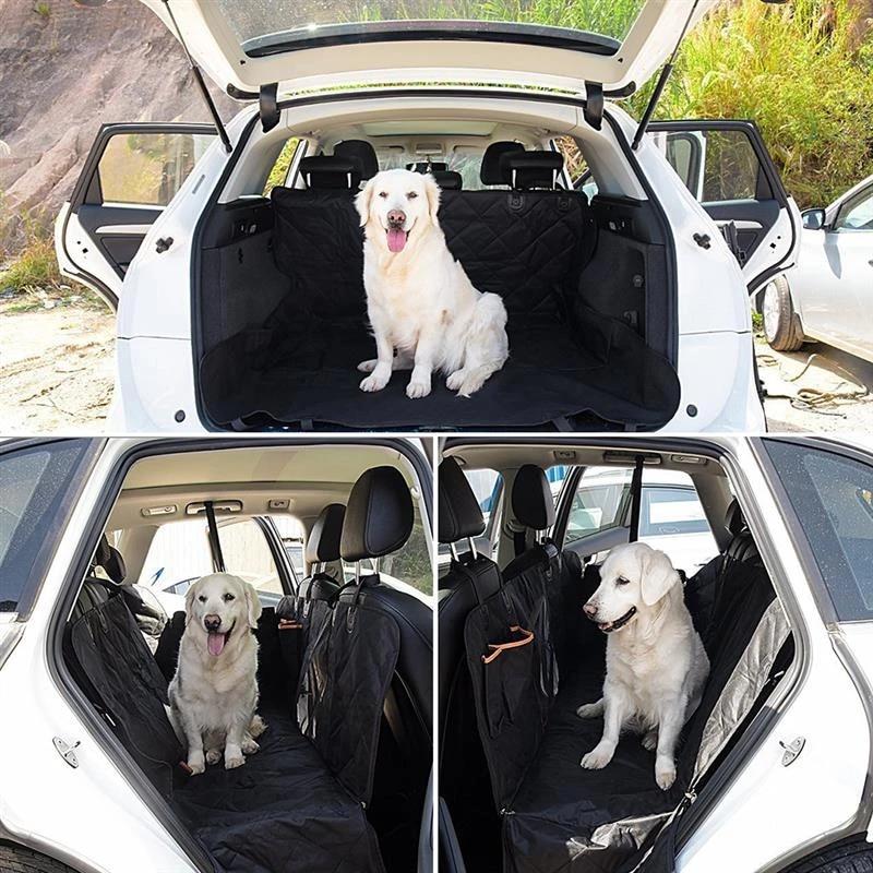 housse de siege arriere de voiture pour chien tapis de siege arriere de voiture protection de coussin en hamac avec fermeture eclair et poches