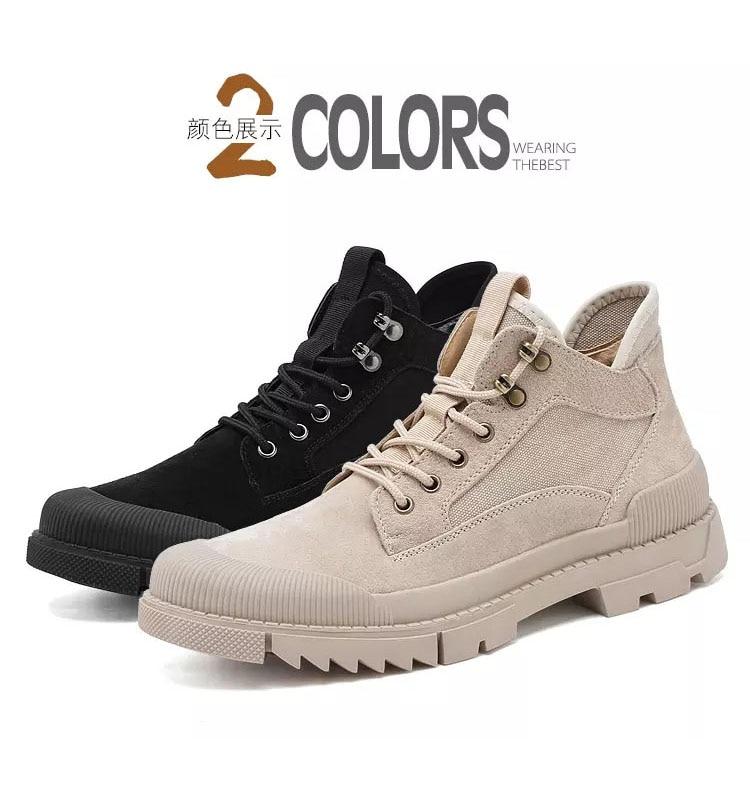 Купить мужские кожаные ботинки до щиколотки коричневые непромокаемые
