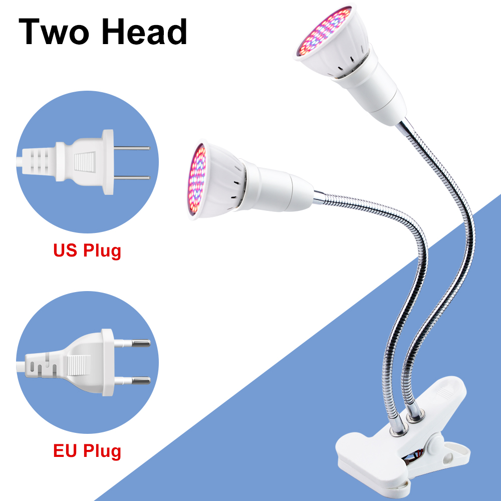 LED Cultivo 2-head LED Plant Grow Light Bulb Clip Grow Light Indoor 3W 5W 7W 15W 20W For Lamp Room Flower Seeds Hydro Grow Box