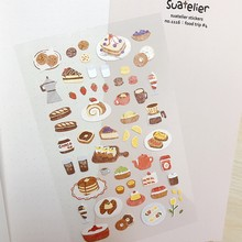 Suatelier Food Trip Stickers Low Tea Cake Coffee Doughnuts Cutting Dies DIY Scrapbooking Diary Journal Decorative Material Craft