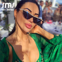 Fashion Cat Eye Rhinestones Sunglasses Women Luxury Brand Black Clear Lens One P