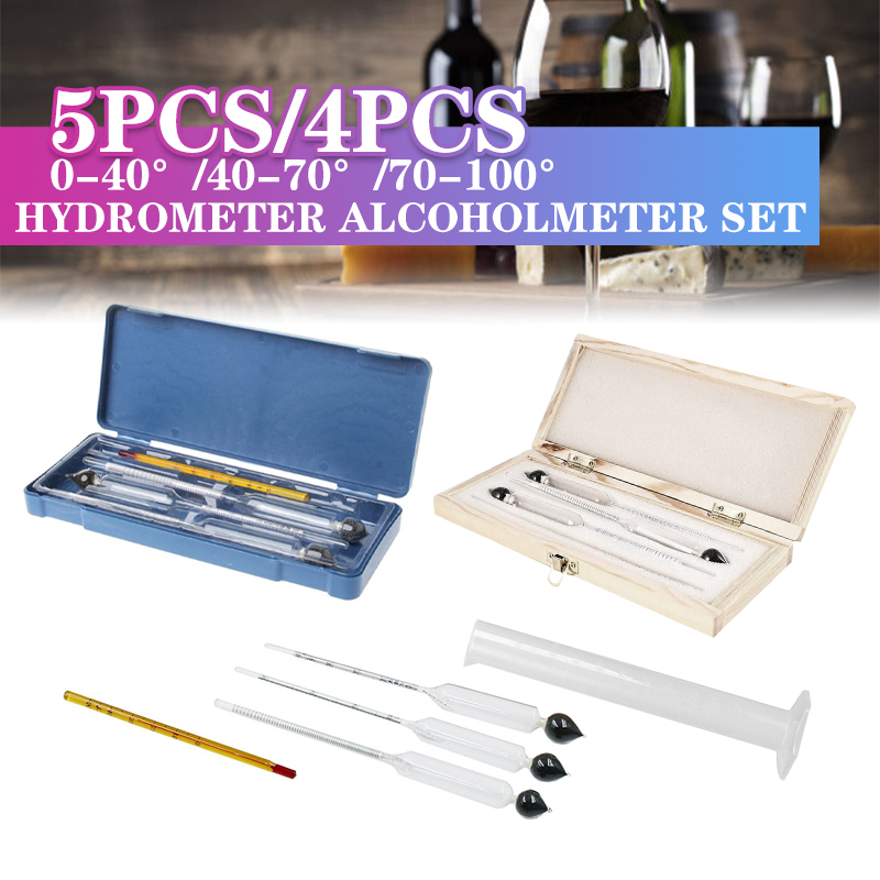 4pcs/5pcs Alcohol Meter Wine Concentration Meter Alcohol Instrument Hydrometer Tester With Measuring Cylinder Thermometer Good For Antipyretic And Throat Soother